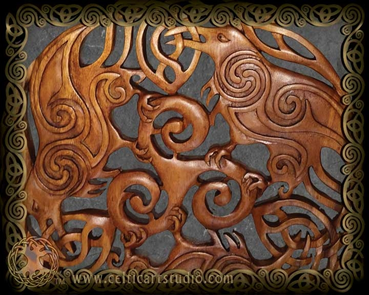 Celtic Art Wood Carvings by Jen Delyth Celtic Tree of Life, Hounds ...
