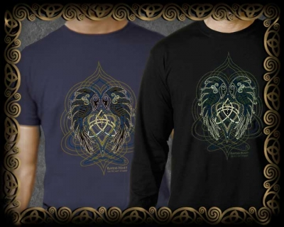 Ts Men's & Women's Vintage Celt Ravens Heart