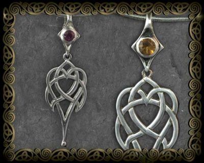 Celtic Heart Gemstone Pendant