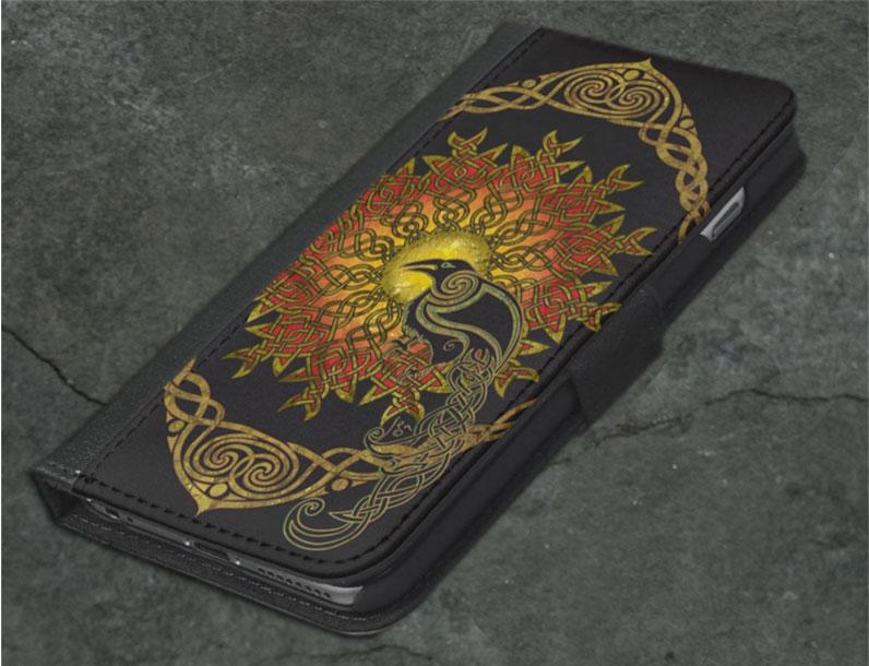 Solstice Raven Celtic Iphone Wallet By Jen Delyth