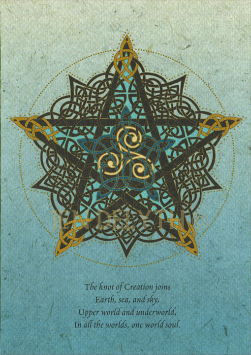 Pentacle Knot Greeting Card By Jen Delyth Celtic Art