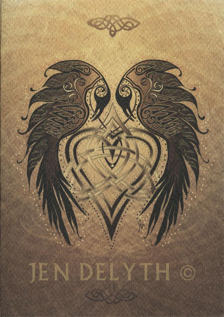 Ravens Heart Celticgreeting Card By Jen Delyth Celtic