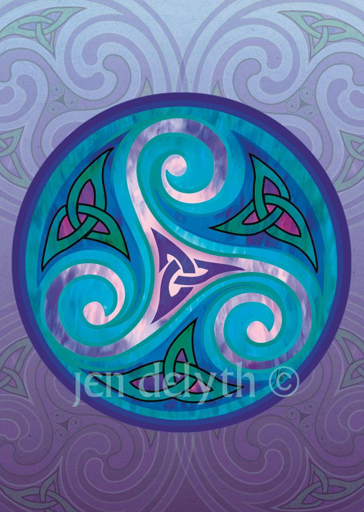 Triskele Greeting Card Welsh Artist Jen Delyth Celtic Art Studio