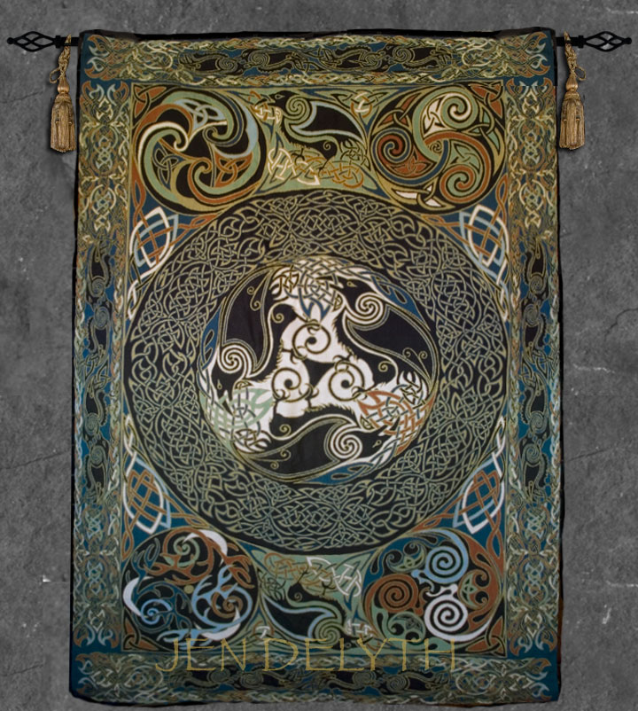 Fine Art Heirloom Tapestry Ravens Celtic Artwork By
