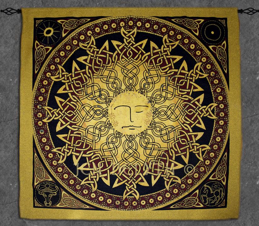 Fine Art Heirloom Tapestry Sun - Lleu Artwork by Jen Delyth Celtic ...