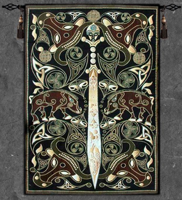 Fine Art Heirloom Tapestry Warrior Celtic Artwork By