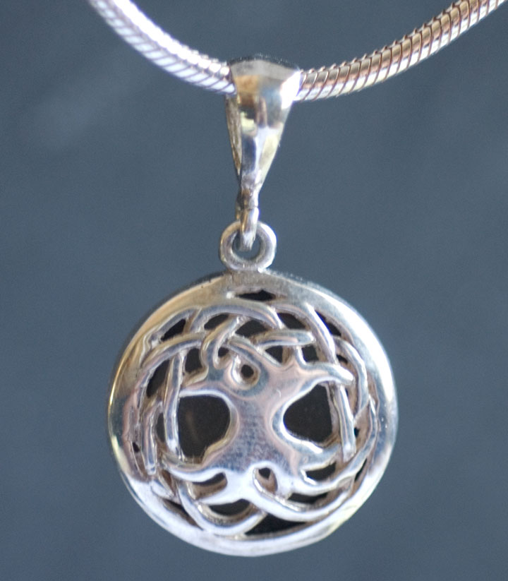 Celtic tree of life sterling silver celtic pendant by jen delyth tree of life solstice edition pendant with smokey quartz cabochon aloadofball Images