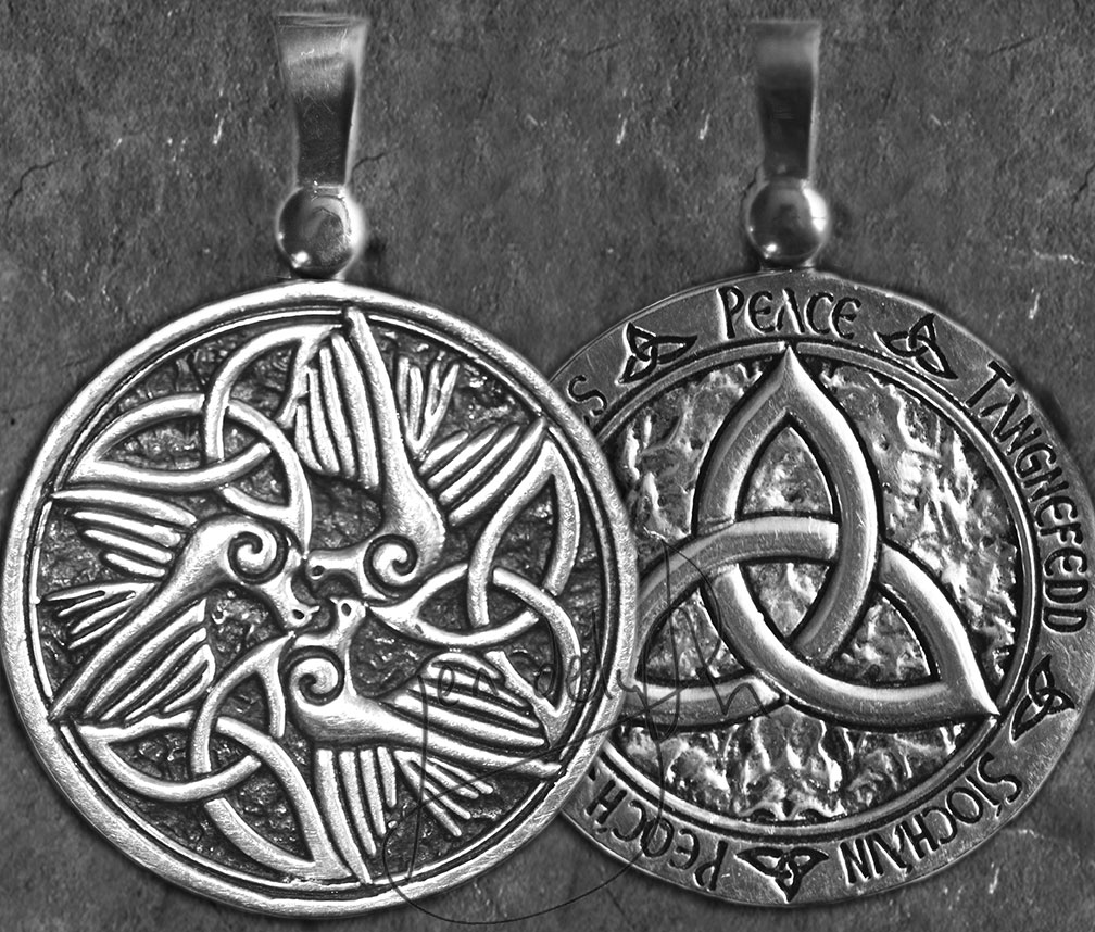 Celtic Doves Peace Triquetra Large Sterling Silver