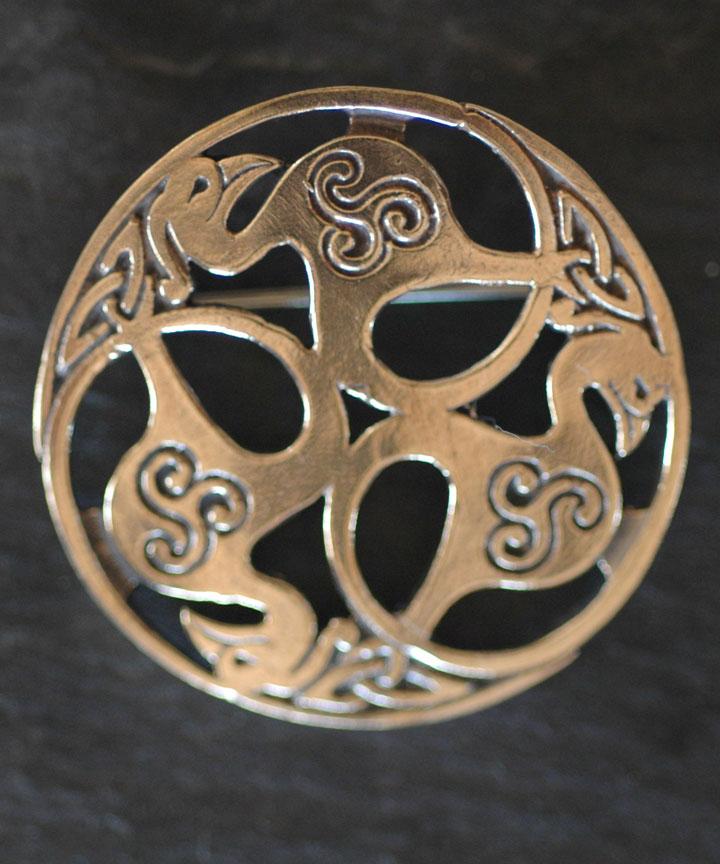 Birds Of Rhiannon Bronze Celtic Brooch By Welsh Artist Jen Delyth