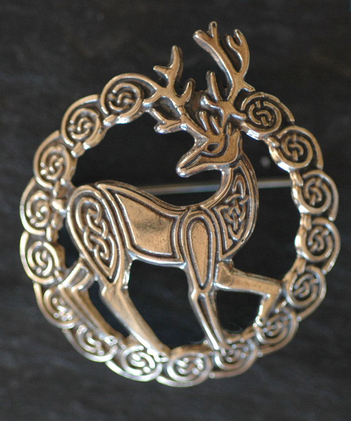 Herne Stag Bronze Celtic Brooch By Welsh Artist Jen