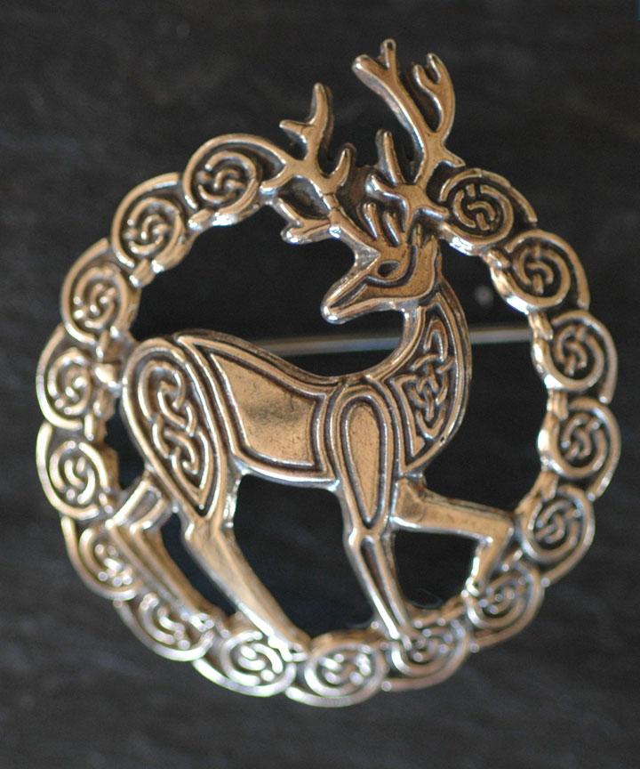 Herne Stag Bronze Celtic Brooch By Welsh Artist Jen