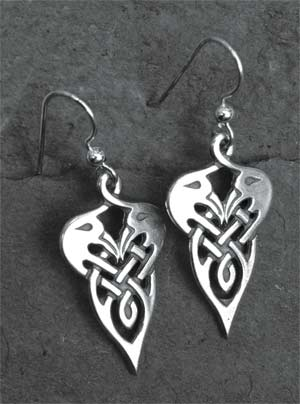 Cranes Sterling Silver Celtic Earrings
