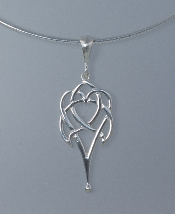 Celtic heart large sterling silver celtic pendant by jen delyth celtic heart 2 sterling silver celtic pendant mozeypictures