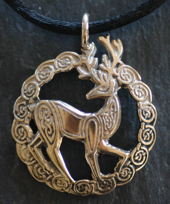 l pendant artist stag ss by pen kd large silver celtic sterling welsh jen shop j