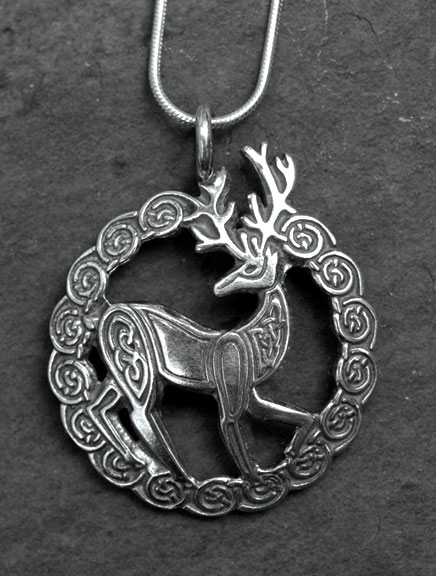 Stag large sterling silver celtic pendant by welsh artist jen stag large sterling silver pendant mozeypictures Gallery