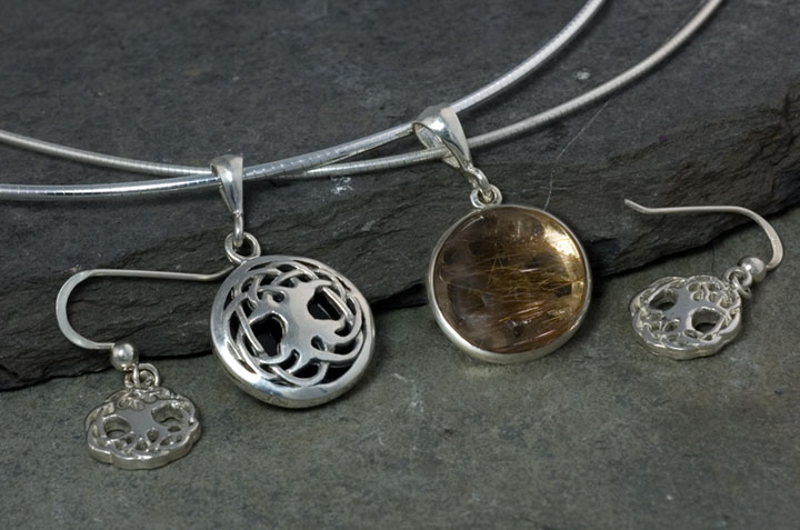 Celtic tree of life jewelry set large sterling silver celtic tree of life solstice edition gemstone pendant earrings chain set mozeypictures Gallery