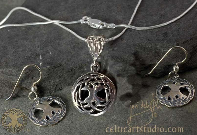 c8823c68e Tree of Life Solstice Edition - Gemstone Pendant, Earrings & Chain Set.  RAVENS HEART - Large Sterling Silver Celtic ...