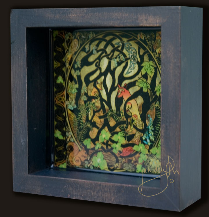 Woodland Celtic Fox Shadow Box By Jen Delyth Limited