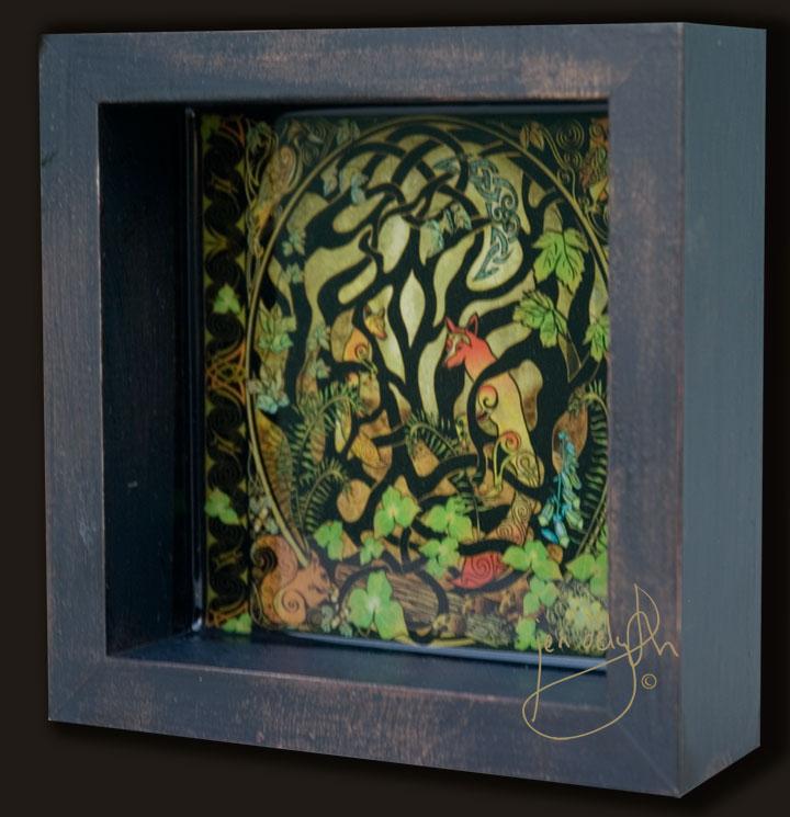 Woodland Celtic Fox Shadow Box By Jen Delyth Limited