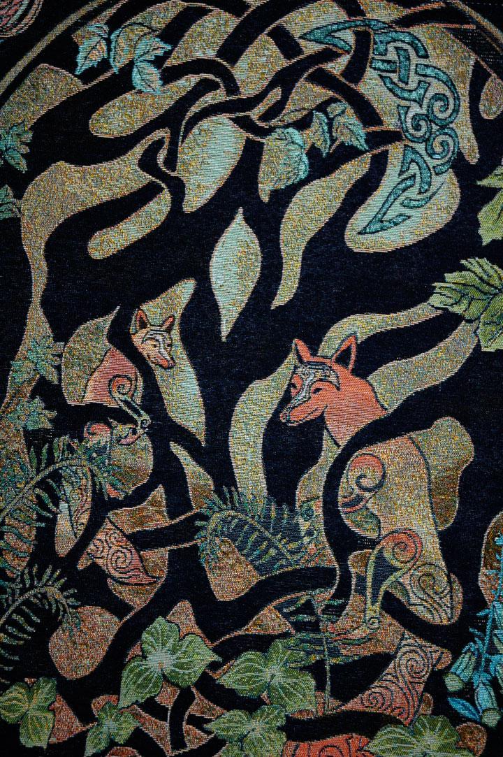 Fine Art Tapestry Celtic Woodland Fox By Jen Delyth