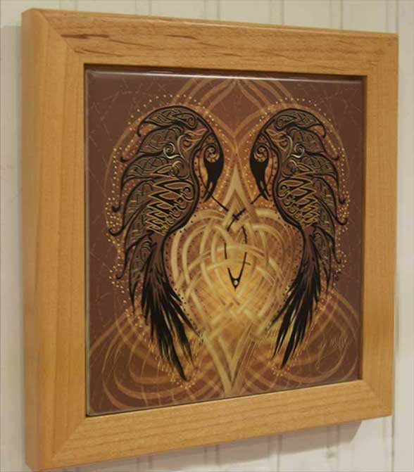 Ravens Heart Wood Framed Tile By Jen Delyth