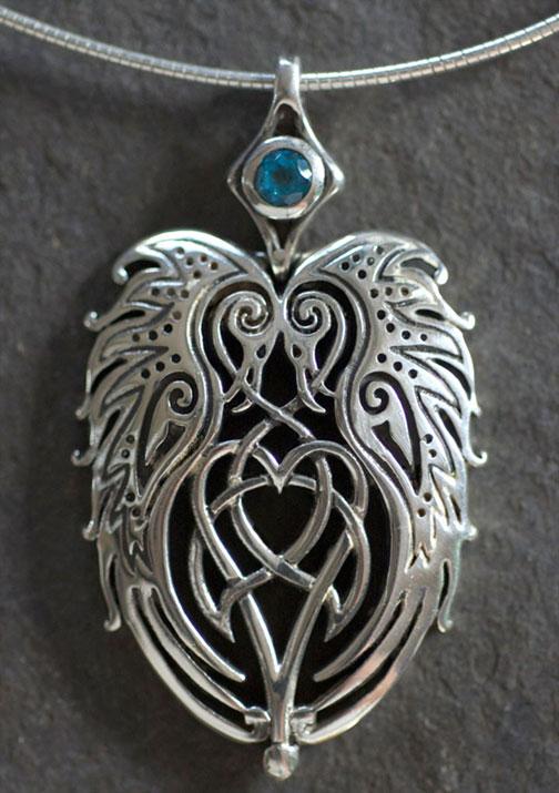 Ravens Heart Large Sterling Silver Celtic Pendant By Jen