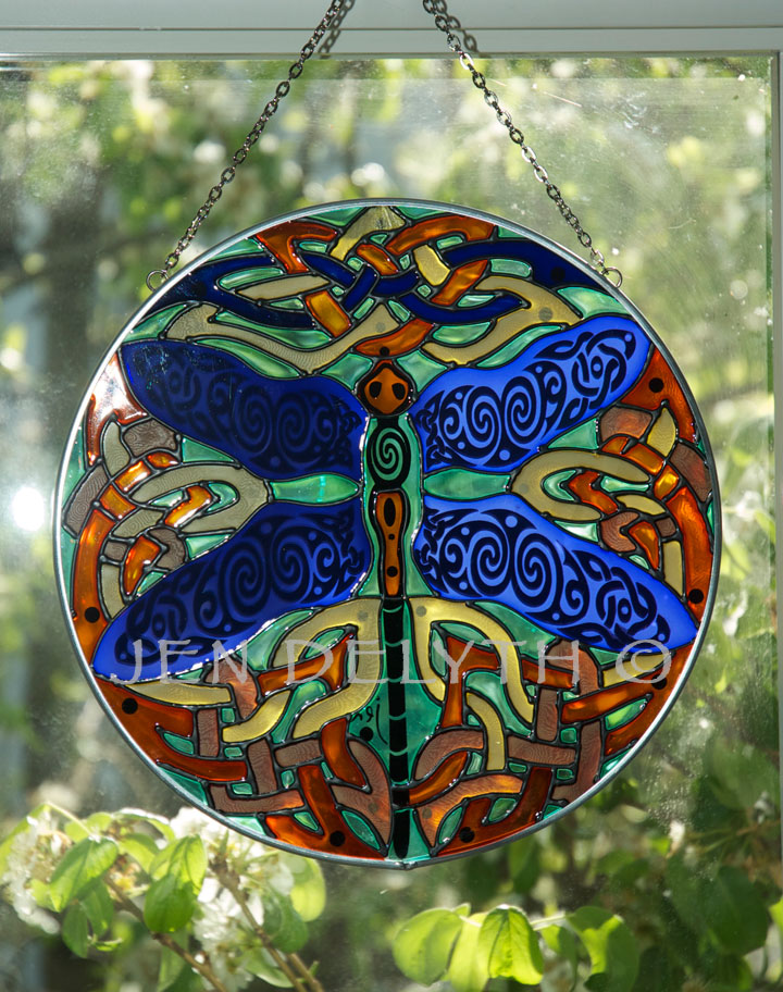 Dragonfly Stained Glass Celtic Art By Welsh Artist Jen