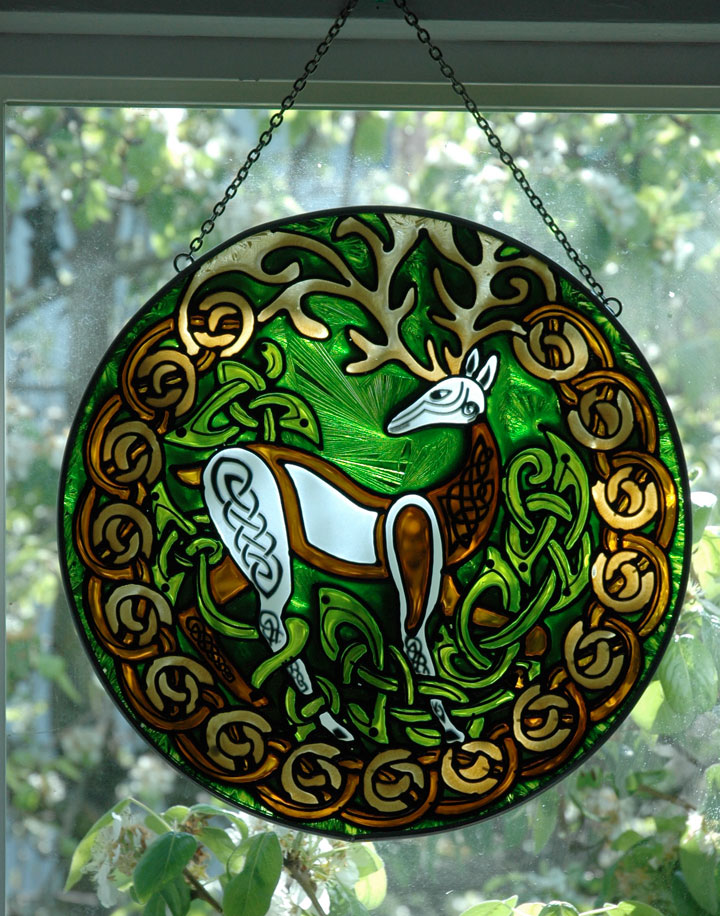 Herne Stag Stained Glass Celtic Art By Welsh Artist Jen