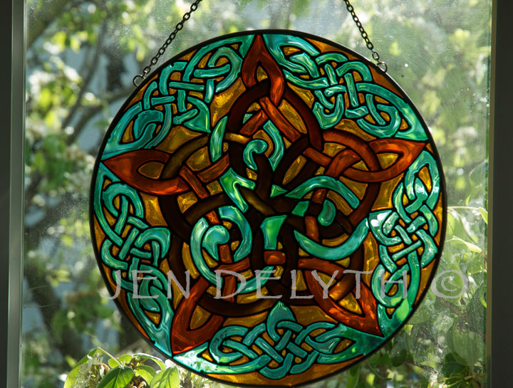 Pentacle Knot Stained Glass Celtic Art By Welsh Artist Jen