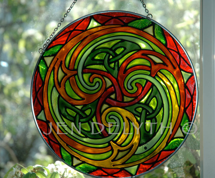 Triskele Stained Glass Celtic Art By Welsh Artist Jen