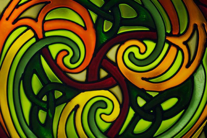 Triskele Stained Glass Celtic Art By Welsh Artist Jen