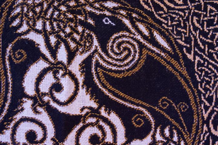 Ravens Gold Afghan Throw By Welsh Artist Jen Delyth