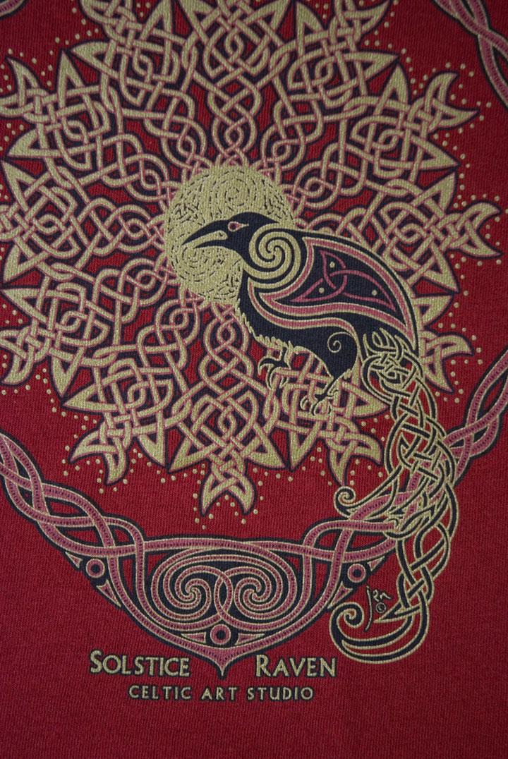 Solstice Raven Long Sleeved T Shirt By Welsh Artist Jen Delyth Celtic Art Studio