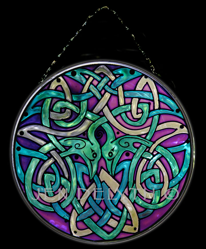 CRANES Celtic Art Glass Violet Blue