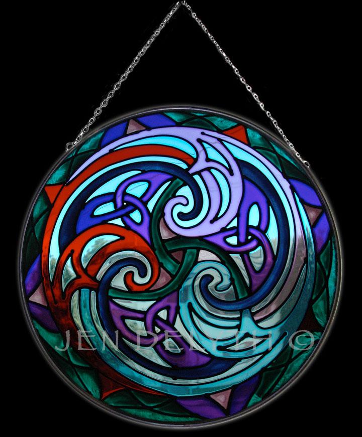 Triskele Stained Glass Celtic Art By Welsh Artist Jen Delyth