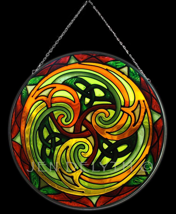 TRISKELE Stained Glass Celtic Art by Welsh artist Jen ...