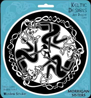 Morrigan Sisters Window Decal By Welsh Artist Jen Delyth Celtic