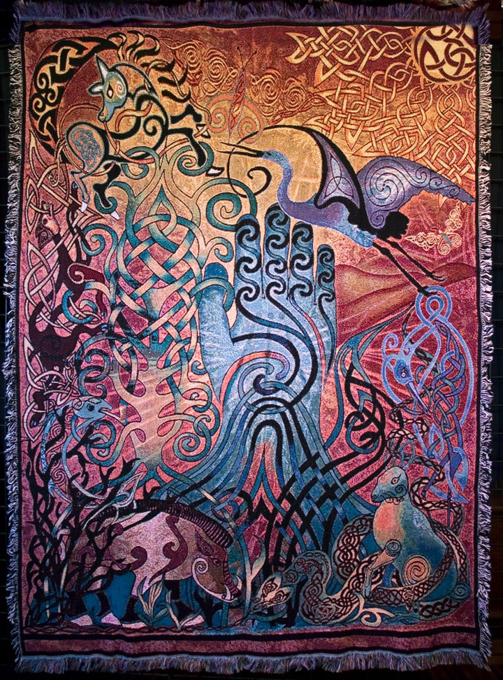 Awen Multicolored Fine Afghan Throw Celtic Artwork By
