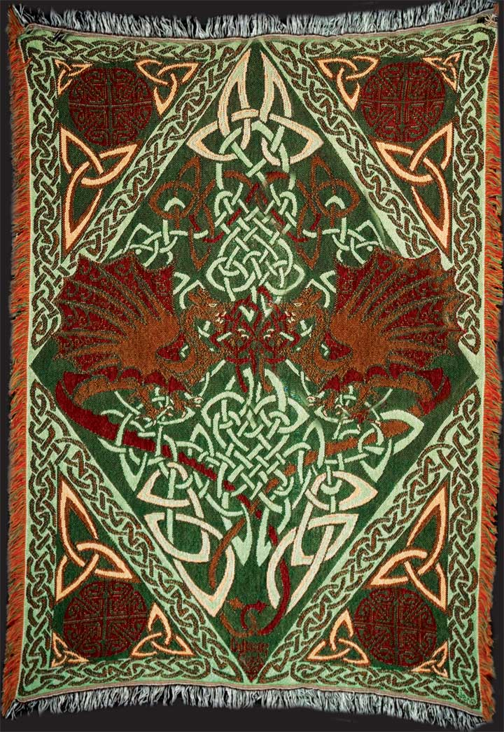 Keltic Dragons Y Ddraig Goch Afghan Throw By Jen Delyth