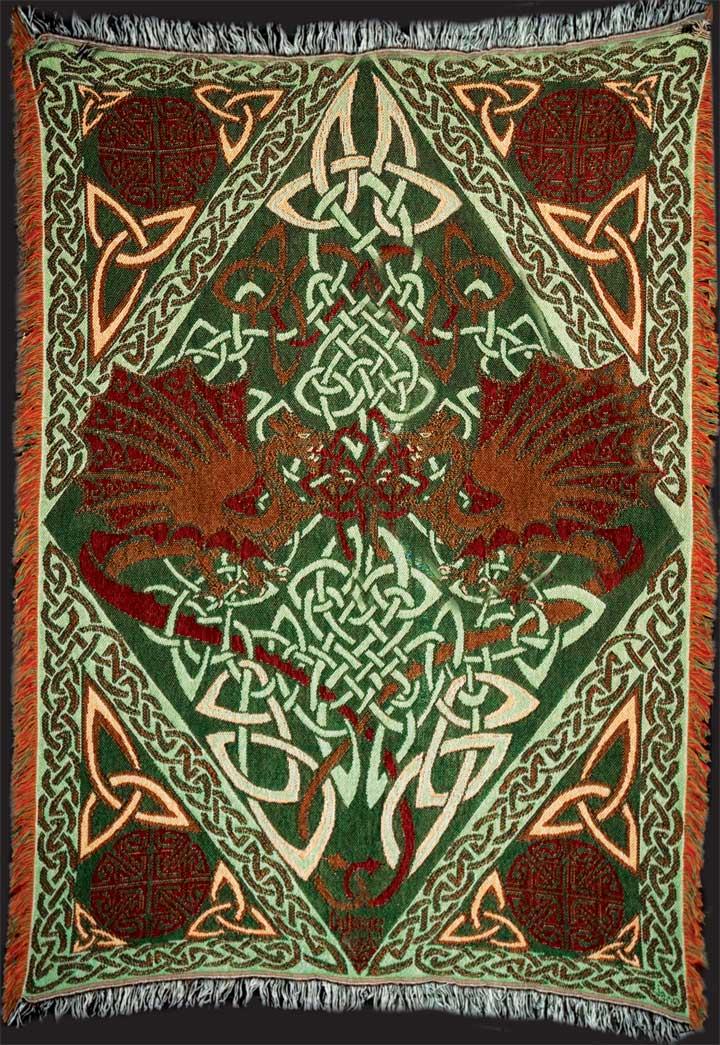 Keltic Dragons Y Ddraig Goch Afghan Throw By Jen Delyth