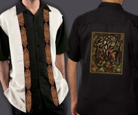 Celtic Cuban Retro Men's Shirt with WOODLAND FOX By Jen Delyth