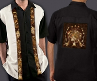 Celtic Cuban Retro Men's Shirt with Wolf Designs By Jen Delyth