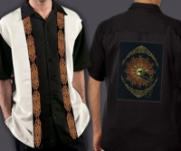 Celtic Cuban Retro Men's Shirt with SOLSTICE RAVENS By Jen Delyth