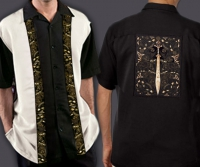 Celtic Cuban Retro Men's Shirt with Celtic Warrior By Jen Delyth