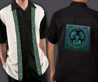 Celtic Cuban Retro Men's Shirt with Yggdrasil - World Tree By Jen Delyth