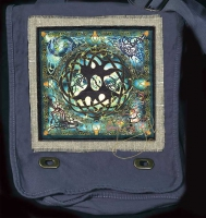 TREE of LIFE MANDALA Hemp Fringed Twill Patch on artPATCH Canvas Field Bag by Jen Delyth