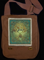TREE HEART song of the trees Hemp Fringed Twill Patch on artPATCH Canvas Field Bag by Jen Delyth