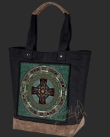 DANU FOLK Celtic artPATCH Canvas Resort Tote bag By Jen Delyth