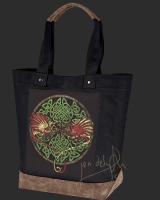 CELTIC DRAGONS Celtic artPATCH Canvas Resort Tote bag By Jen Delyth