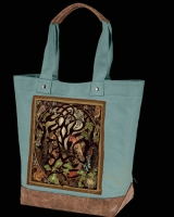 WOODLAND FOX Celtic artPATCH Canvas Resort Tote bag By Jen Delyth